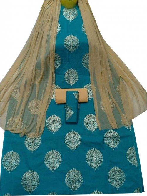 New Stylish Teal Skin Printed 3 pieces For Woman