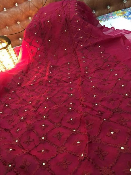 Unstitched embroidery work marron Color kameez for Women (1 piece)
