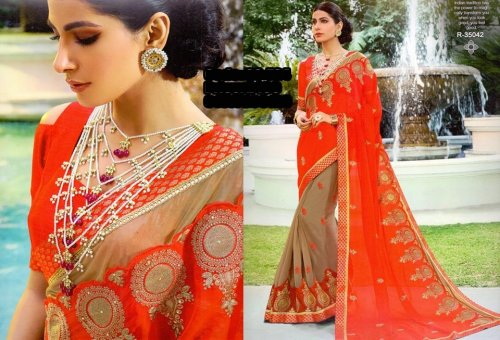 Georgette and embroidery work saree ssc-724
