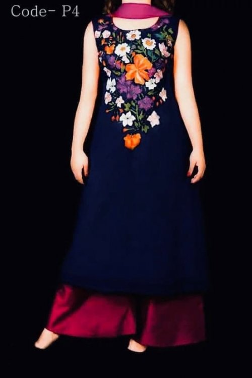blue Embroidery soft georgette dress for woman nokshi 038