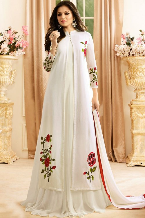 White Anarkali Suit for woman
