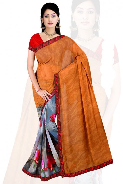 Indian Rust And Ash Silk Printed saree For women