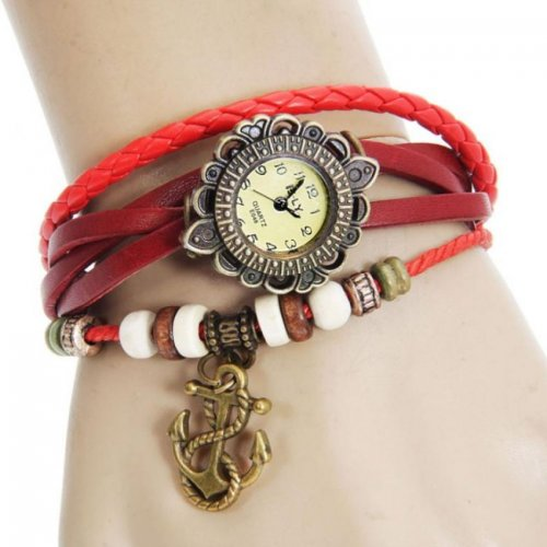 Red Color Ladies Gorgeous Bracelet Watch