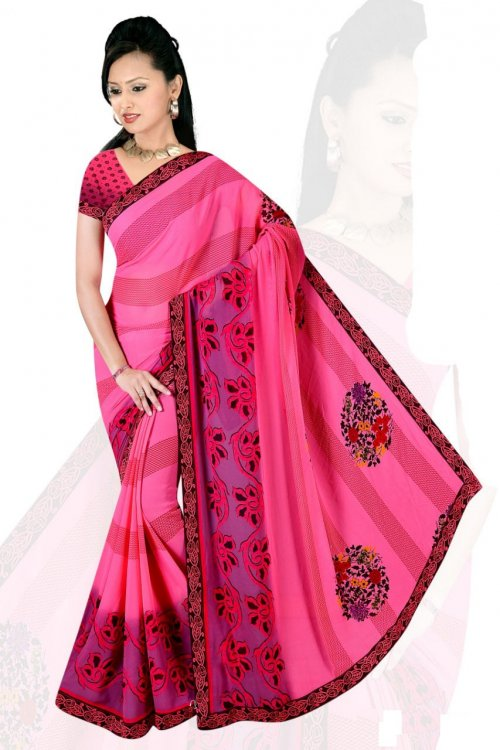 Indian Pink Silk Printed saree For women