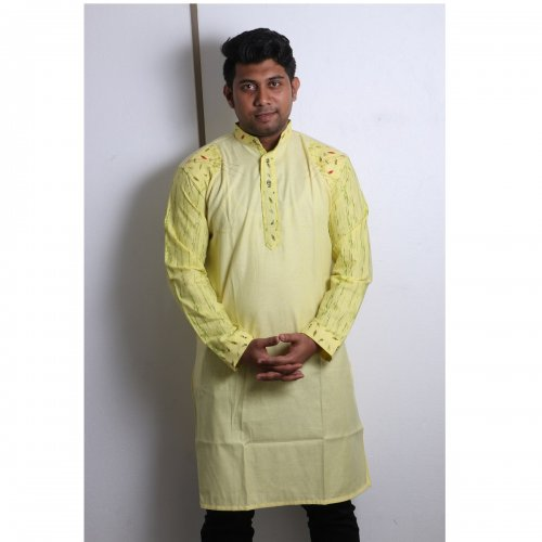 light yellow Cotton Casual Long Panjabi for Men mfz-111