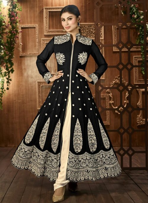 mouni roy BLACK AND CREAM EMBROIDERED ANARKALI
