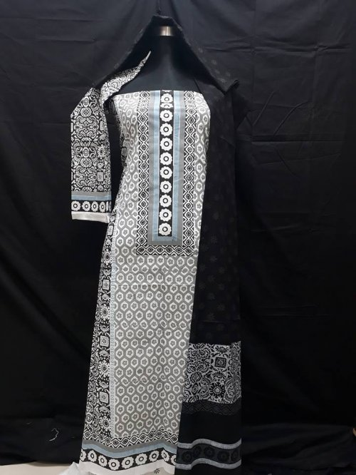 unstiched block printed cotton replica three pcs salwar kameez seblock-510