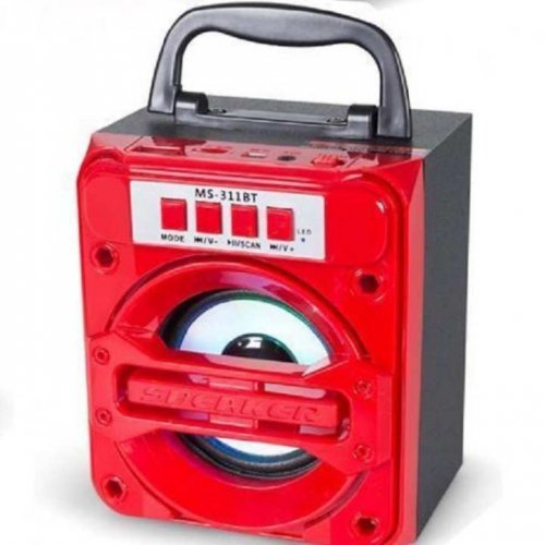 """MS-311 Portable Wireless BT Mobile Multimedia Speaker Music Player - Red """