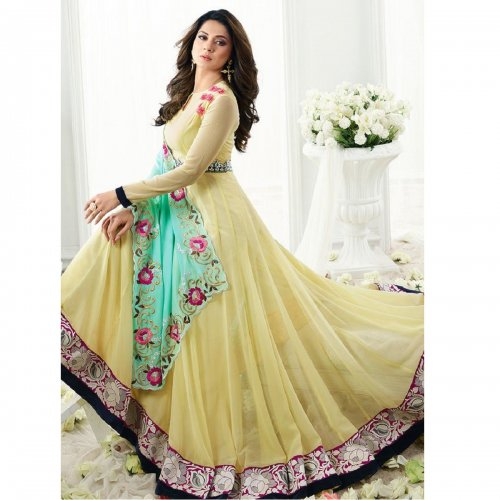 Jennifer Winget Cream Georgette Anarkali suit winget-5604