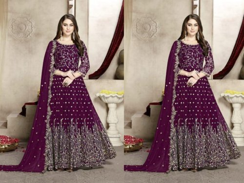 Georgette Anarkali Suit In purple Color