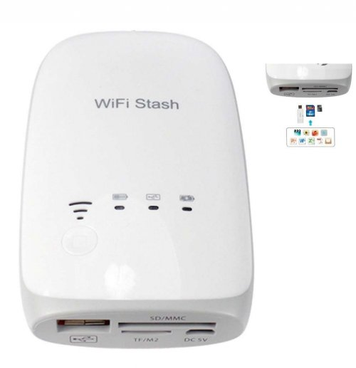 Wifi Stash Power Bank Portable Wireless Card Reader for Apple iPhone iPod iPad PC Android etc.