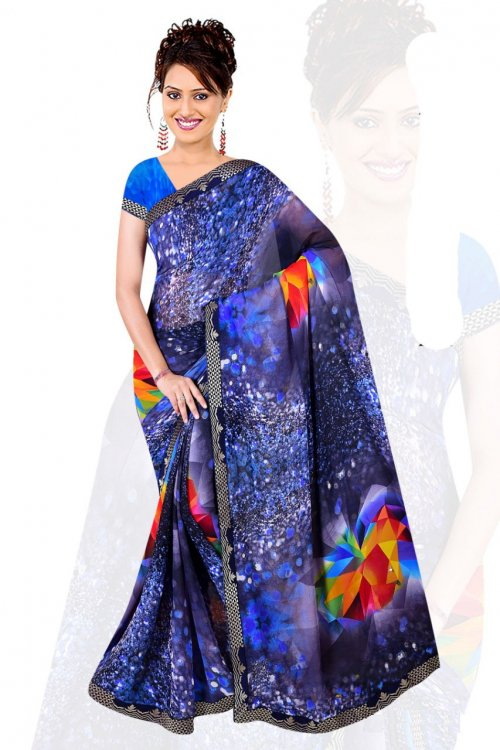 Indian Blue Silk Printed saree For women