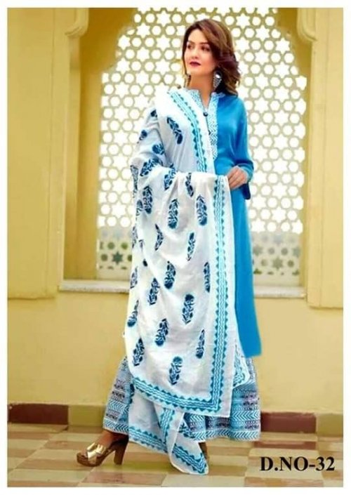 Latest Sky Blue Block Printed 3 pieces Salwar Kameez for Women
