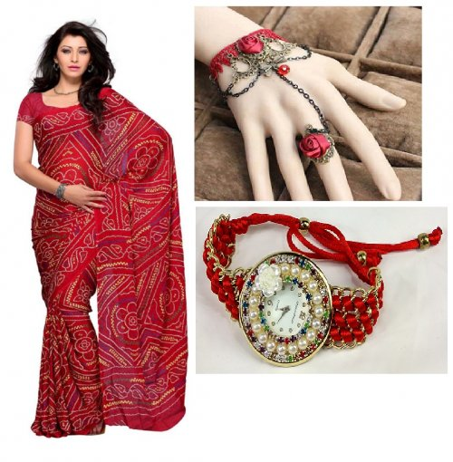 Saree with Beautiful bracelet and Watch