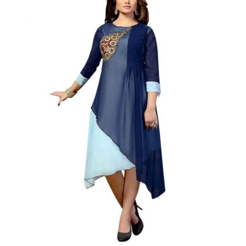 Navy Blue and Aqua Georgette Kurti For Women