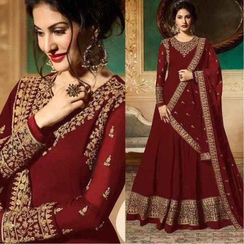 Floor Length Anarkali maroon