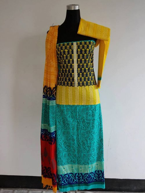 unstiched block printed cotton replica three pcs salwar kameez seblock-563