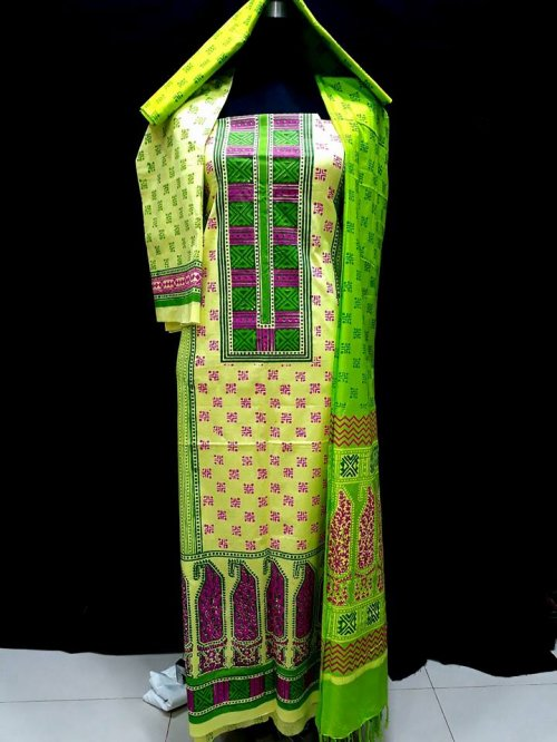 unstiched block printed cotton replica three pcs salwar kameez seblock-516