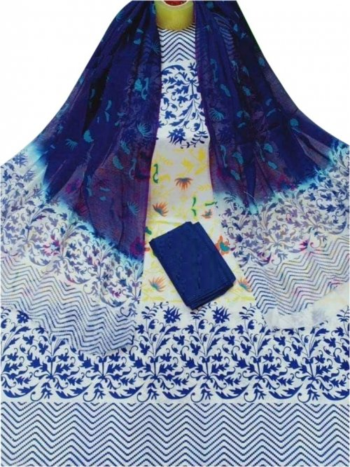 Latest Designed White And Navy Blue High Quality Cotton Salwar Kameez for Women