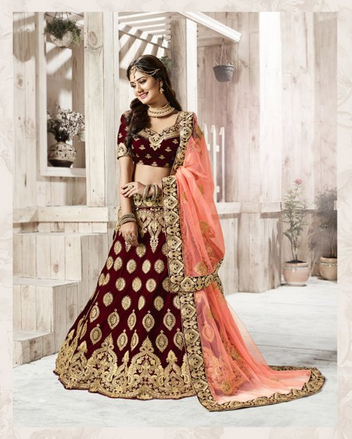 FASHIONABLE maroon COLOR DESIGNER with embroidery LEHENGA CHOLI surbhi 033