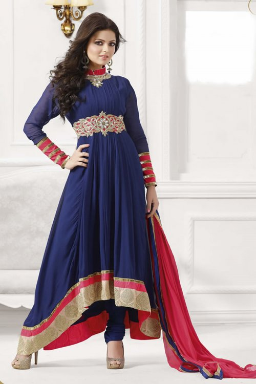 Drashti Dhami Blue Georgette Anarkali Suit