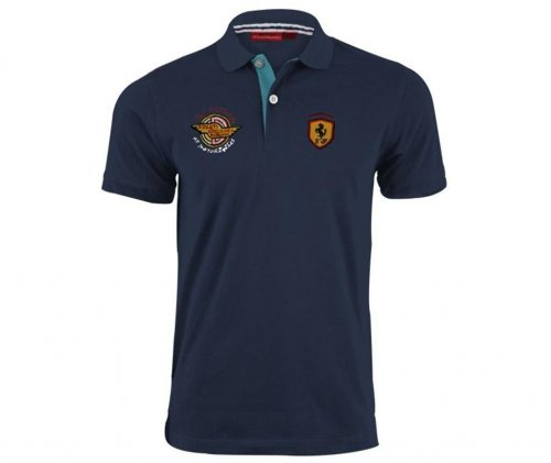blue neck polo shirt