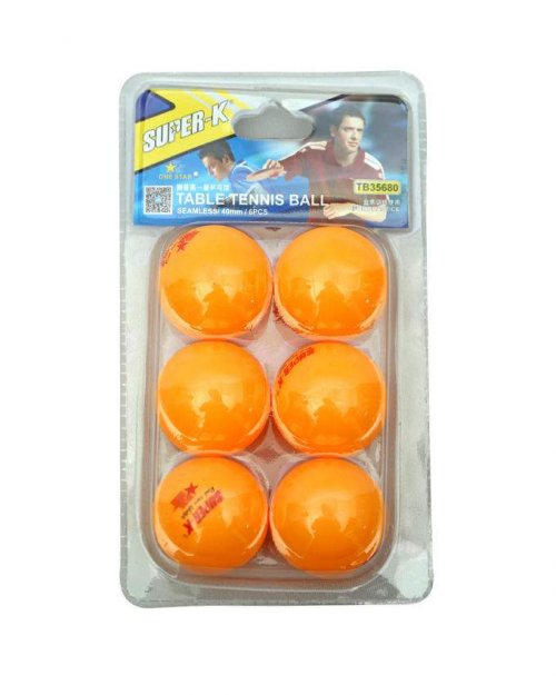 Super K TB35660 Table Tennis Ball 6 Pieces -Yellow