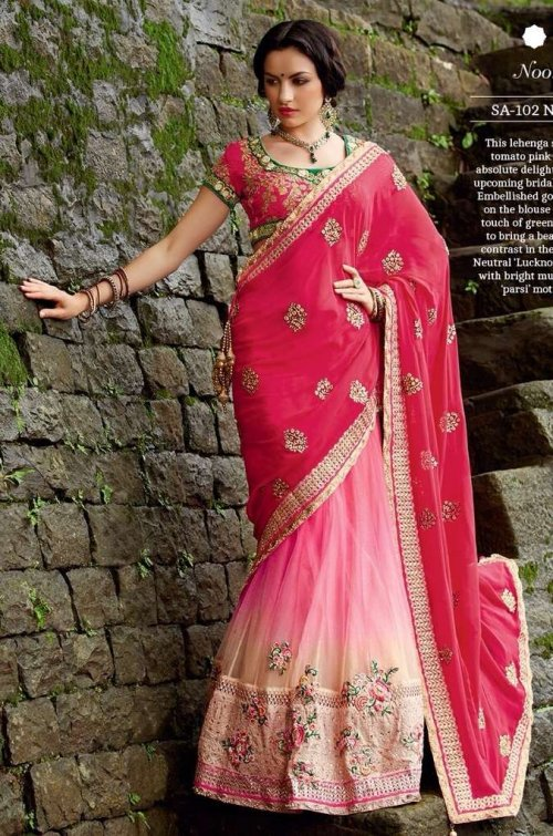 Shaded Pink Lehenga Style georgette net Saree Sharee with blouse