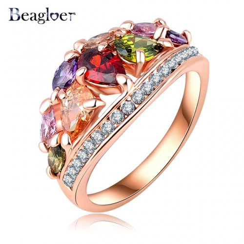 BeagloerAustrian Crystal Rose Gold Plated party finger Ring