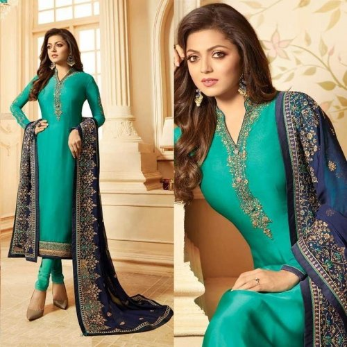 semi-stitched geogette salwar suits for woman