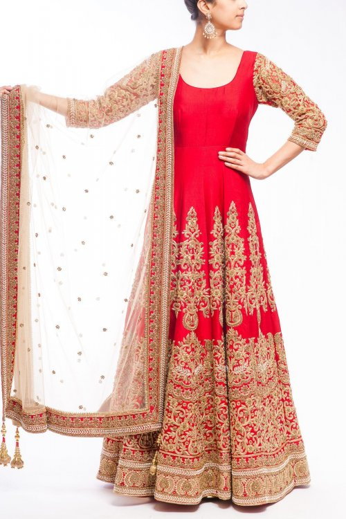 Red Party Wear Georgette Designer Embroidery Long Salwar Suit