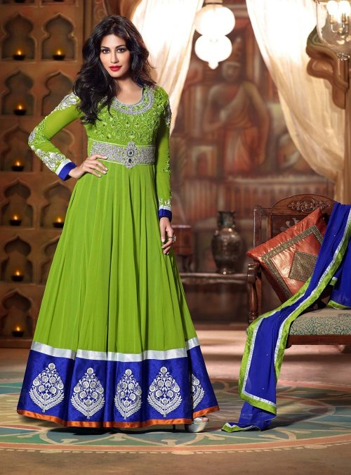 GREEN CHITRANGDA SINGH ABAYA STYLE ANARKALI suits