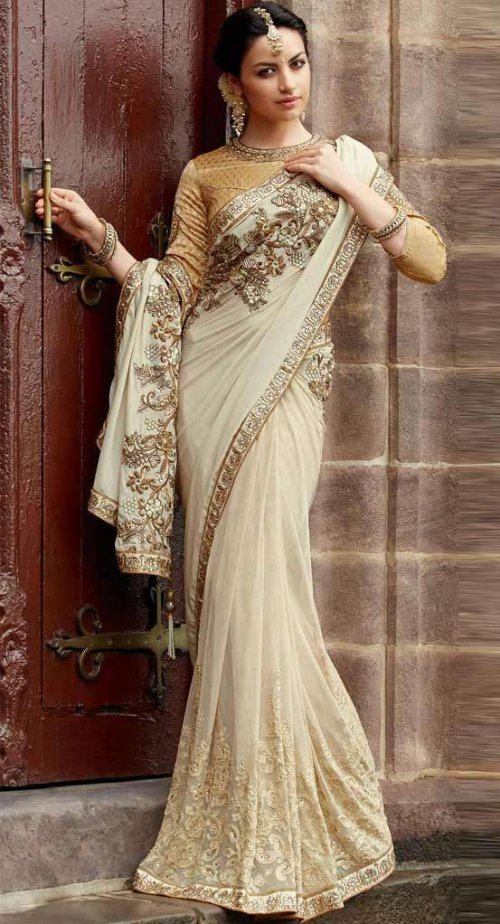 Resham Work Net Cream and Golden Embroidered Designer heavy party wear saree