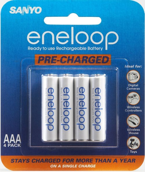 Sanyo Eneloop AAA NiMH Rechargeable Batteries 4 Pack