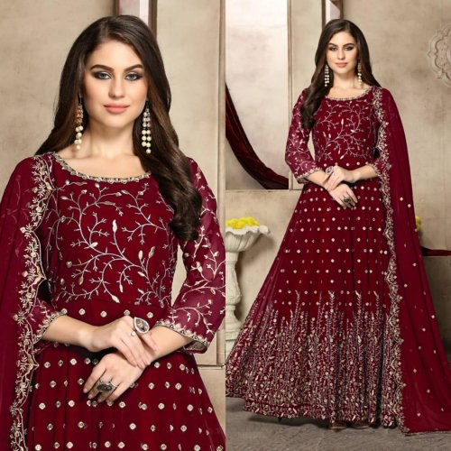 Georgette Anarkali Suit In Maroon Color