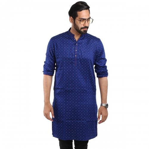 China Cotton Panjabi For Man - Blue With Dot Design