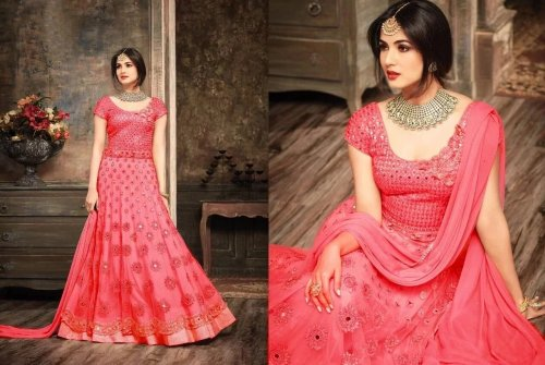 Georgette Embroidery Semi Stitched Perty Dress for woman
