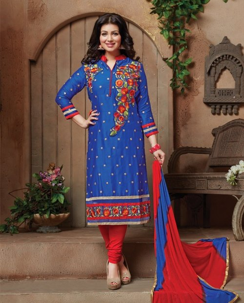 unstiched block printed cotton replica three pcs salwar kameez seblock-414