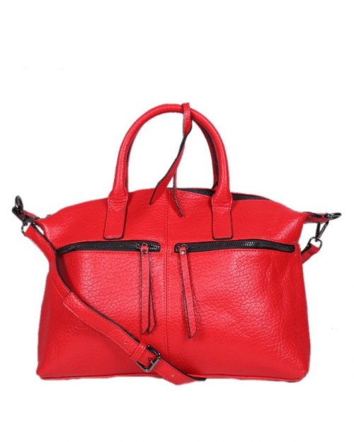 Leather Shoulder Bag - Red sl37