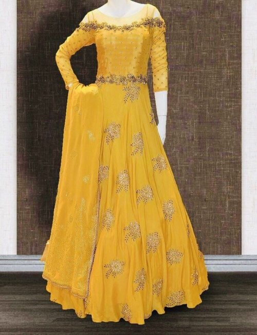 Unstitched yellow embroidered anarkali salwar suit Anarkali-1192