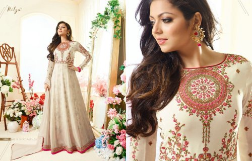 Ivory un-stitched georgette with embroidery salwar suit