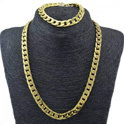 "Real 9K Gold Filled Men's Bracelet & Necklace 21.5"" Chain Set"