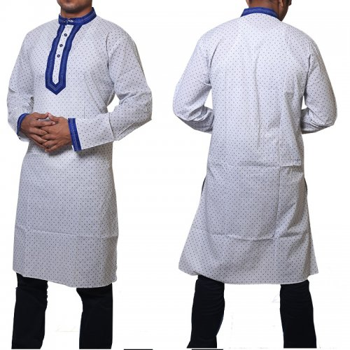 Cotton Semi Long White Panjabi for men