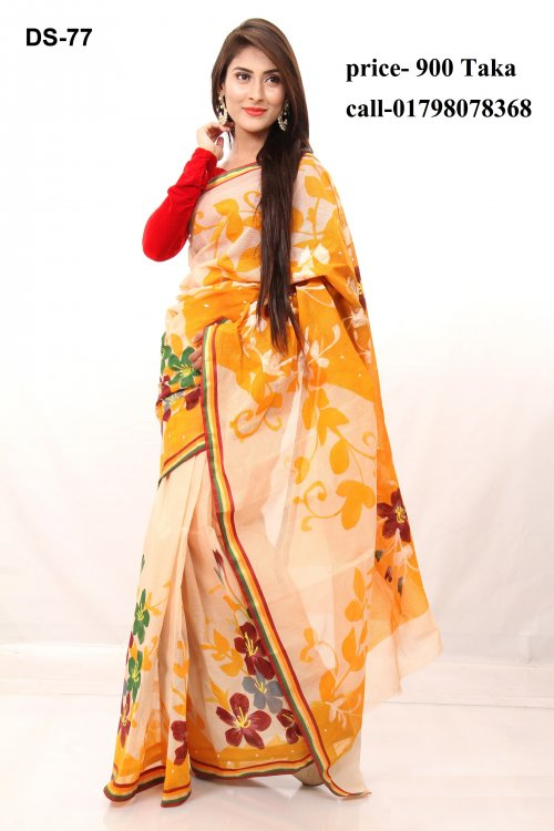 Boishakhi Cotton kota handprint Saree Bois-77