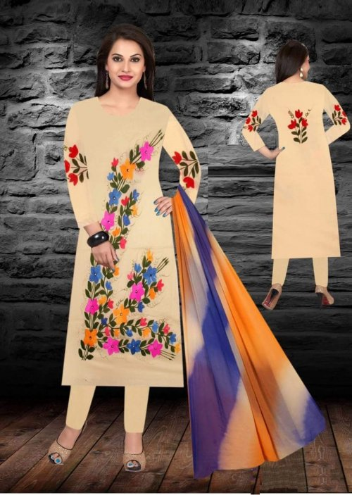 Unstiched brush printed cotton replica salwar kameez seblock-619