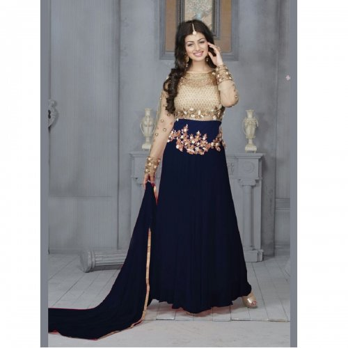 Ayesha Takia Blue Georgette Long Anarkali Suit d.no-89494