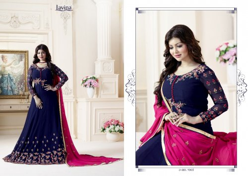 Unstitched blue georgette salwar suit Lavina-7003