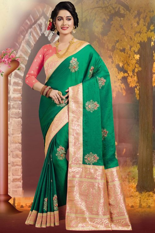 Green and Light Pink Embroidery Work Katan Saree For Women