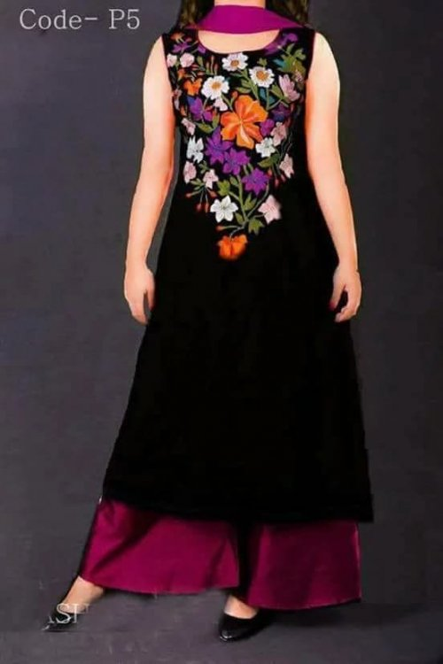 black Embroidery soft georgette dress for woman nokshi 037