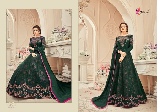 green un-stitched kesari trendz georgette with embroidery salwar suit